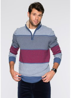 Troyer-Pullover Regular Fit, bpc bonprix collection, blau/wollweiß/rot/grau