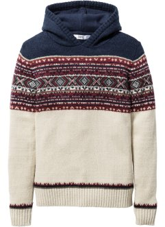 Strickpullover mit Kapuze, bpc bonprix collection, natur meliert
