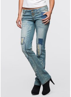 Jeans im Used-Look, RAINBOW, blue bleached