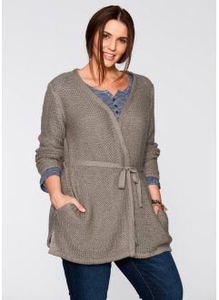 Feinstrick-Jacke, bpc bonprix collection, taupe