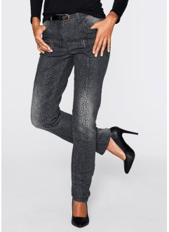 Stretch-Jeans mit Druck, bpc selection, grey denim bedruckt