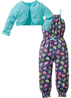 Jumpsuit+Bolero Jacke (2-tlg. Set), bpc bonprix collection, indigo bedruckt+aqua