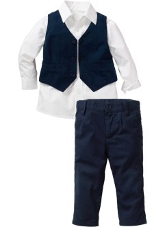 Baby Hemd + Weste + Hose (3-tlg. Set), bpc bonprix collection, weiß/dunkelblau