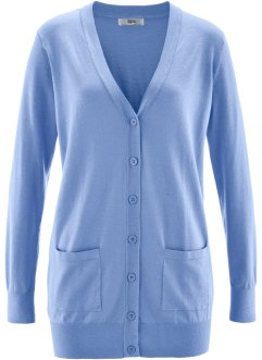 Long-Strickjacke, bpc bonprix collection, perlblau
