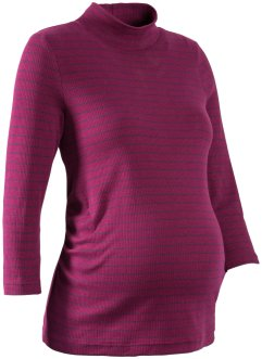 3/4-Arm-Umstandsshirt mit Mini-Turtleneck, bpc bonprix collection, beere/dunkelblau gestreift
