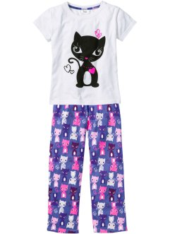 Pyjama (2-tlg. Set), bpc bonprix collection, weiß/lilablau