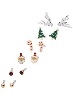 6er Weihnachtsohrstecker-Set, bpc bonprix collection