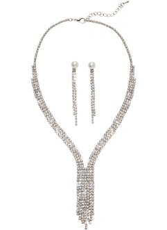 Set Kette + Ohrringe, bpc bonprix collection, silberfarben
