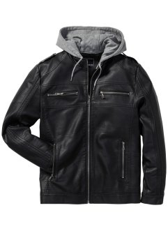 Lederimitat-Jacke Regular Fit, RAINBOW, schwarz