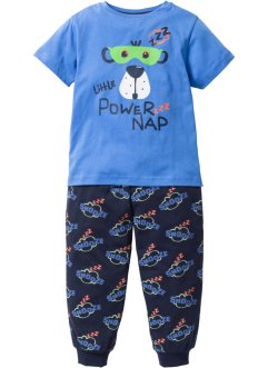 Pyjama (2-tlg. Set, bpc bonprix collection, gletscherblau/dunkelblau