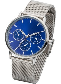 Armbanduhr mit Mashband in Chrono-Optik, bpc bonprix collection, silberfarben/blau