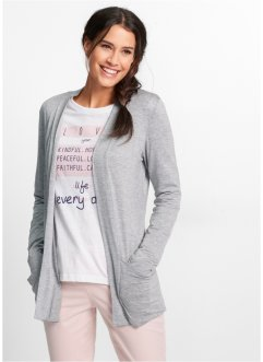Stretch-Shirtjacke, bpc bonprix collection, hellgrau meliert