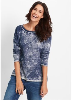 Feinstrick-Pullover im Used-Look, bpc bonprix collection, indigo used
