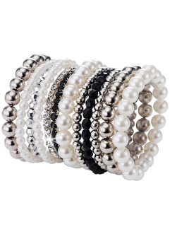 "Armband-Set ""Perla"", bpc bonprix collection, schwarz/silberfarben"