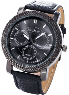 Herrenarmbanduhr, bpc bonprix collection, schwarz