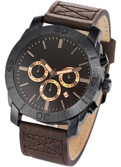 Chronograph mit Lederarmband für Herren, bpc bonprix collection