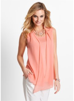 Top mit Chiffon, bpc selection, lachsrosa