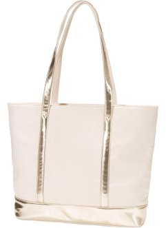 Shopper mit goldenen Details, bpc bonprix collection, naturstein