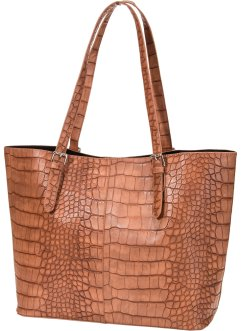 Tasche Reptilprägung, bpc bonprix collection, cognac