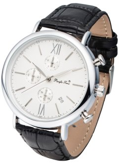 Herren Chronograph, bpc bonprix collection, schwarz/silberfarben