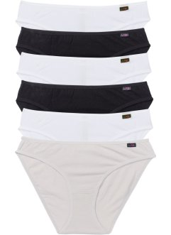 Slip (6er-Pack), bpc bonprix collection, schwarz/weiß/grau