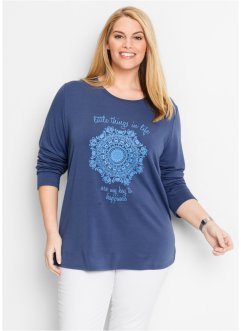 Langarm-Sweatshirt, bpc bonprix collection, indigo bedruckt