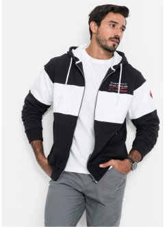 Sweatjacke mit Kapuze Regular Fit, bpc bonprix collection, schwarz/weiß