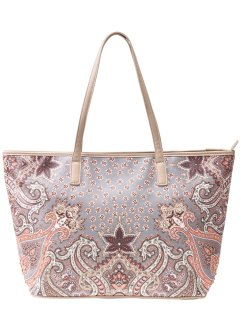 Shopper Paisley mit Strass, bpc bonprix collection, braun/orange
