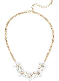 Collier Blumen/Perlen, bpc bonprix collection, goldfarben/creme