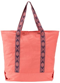 Baumwoll-Shopper, bpc bonprix collection, koralle/dunkelblau