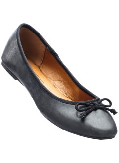 Ballerina in 2 Weiten, bpc bonprix collection, schwarz metallic