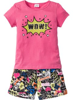Shorty-Pyjama, bpc bonprix collection, pink/schwarz