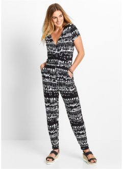 Knöchellanger Jumpsuit, bpc bonprix collection, weiß/schwarz gemustert
