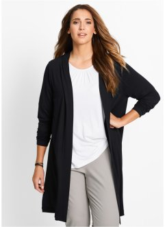 Lange Shirt-Jacke, bpc bonprix collection, schwarz