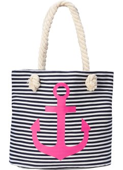 Strandshopper Anker, bpc bonprix collection, dunkelblau/pink/weiß