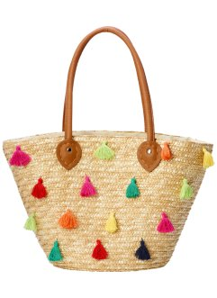 Strohtasche mit bunten Pompoms, bpc bonprix collection, natur multi