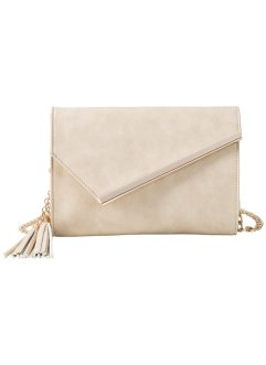 Clutch mit schräger Metalllasche, bpc bonprix collection, beige/gold