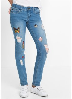 Slim Jeans mit Patches, RAINBOW