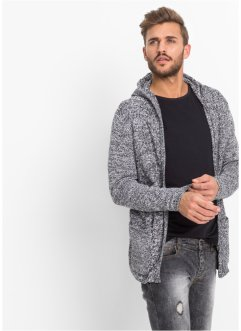 Lange Strickjacke mit Kapuze Slim Fit, RAINBOW