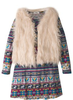 Bedrucktes Minikleid mit Fake Fur Weste (2-tlg.Set), bpc bonprix collection