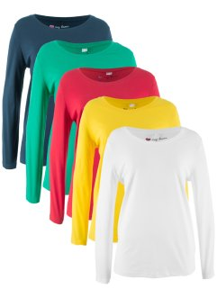 Langarm-Rundhals-Longshirts (5er-Pack), bpc bonprix collection