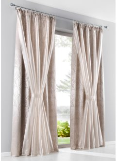 Doppellagige Gardine mit Raffhalter (1er Pack), bpc living bonprix collection