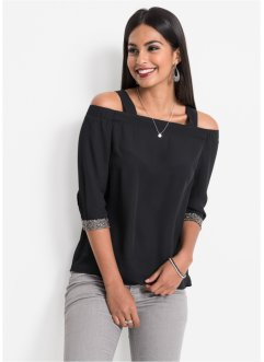 Off-Shoulder-Bluse mit Glitzermanschetten, BODYFLIRT