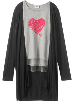 Langarmshirt + Shirtjacke (2-tlg.), bpc bonprix collection