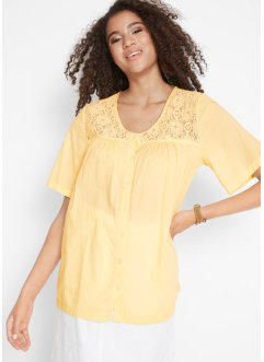 Baumwoll Bluse mit Spitzeneinsatz, bpc bonprix collection