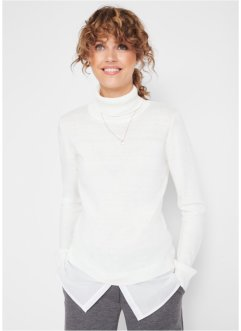 Rollkragenpullover mit Webbesatz, bpc bonprix collection