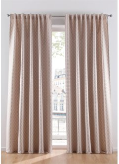 Satin Vorhang mit Glanzdruck (1er Pack), bpc living bonprix collection