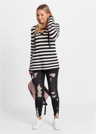 Cooler Pullover mit Schnürung am Ausschnitt schwarz