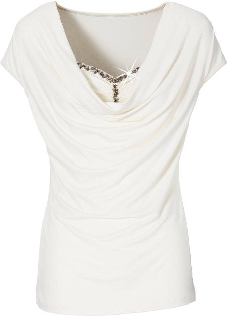 53ba5924b4ae Feminines Kurzarmshirt mit Detail am Ausschnitt - wollweiß