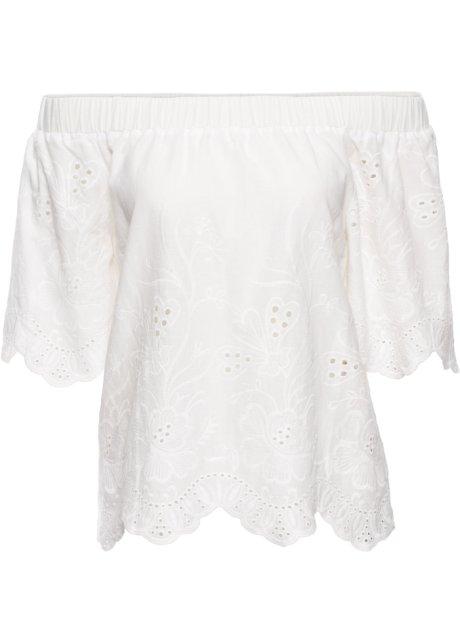 cfc9c63d46e9a0 Bestickte Bluse im Carmen-Stil - weiß